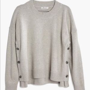 Madewell Beige Wool Side Button Sweater